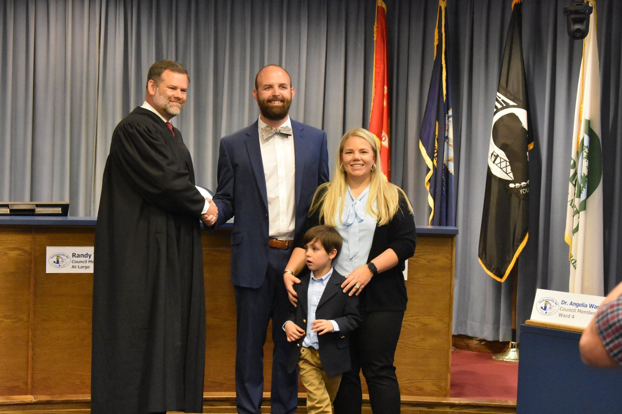 Newly sworn-in Councilmember Logan Sosa with family