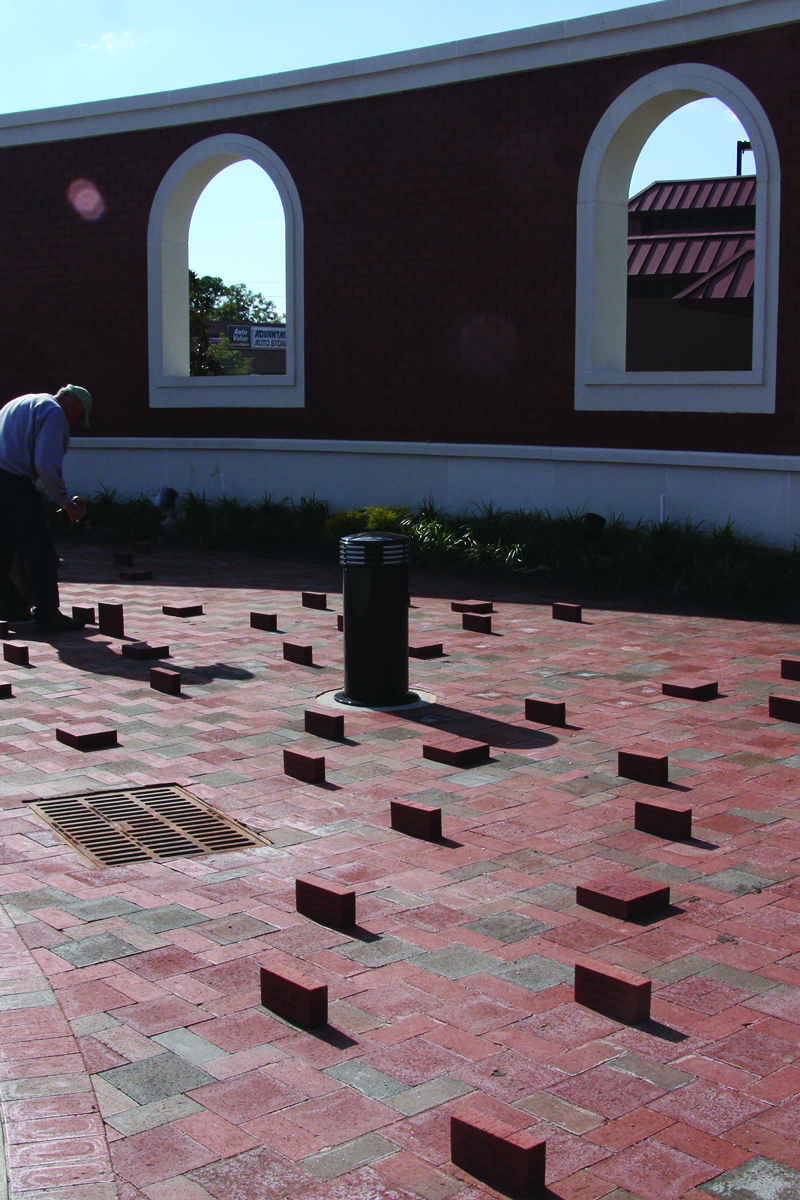 Brick paver installation at the Freedom Fountain