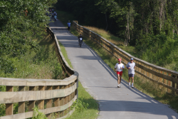 Walkers and bicyclists on the trail