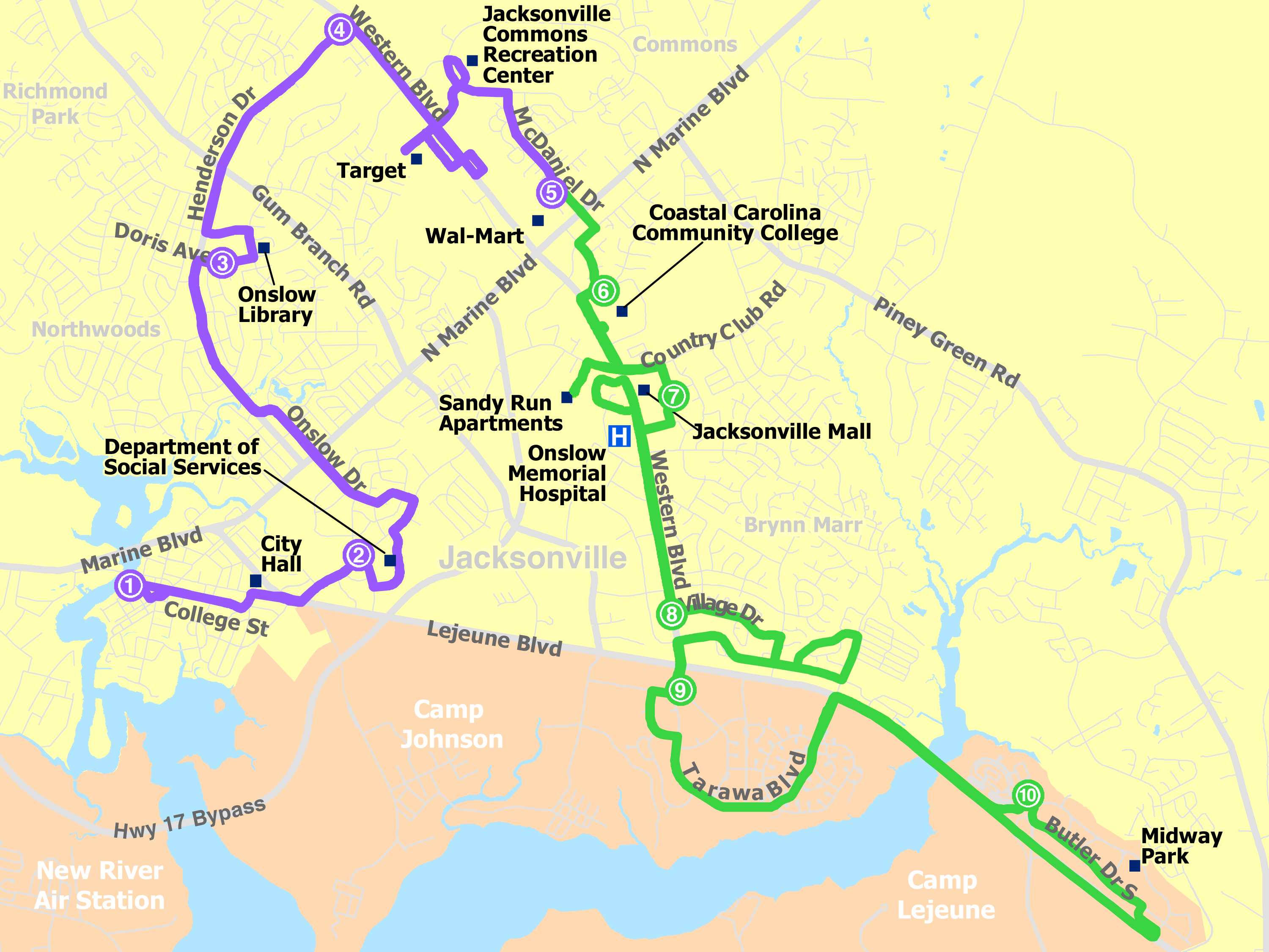 Daily Route Map, Jacksonville Transit