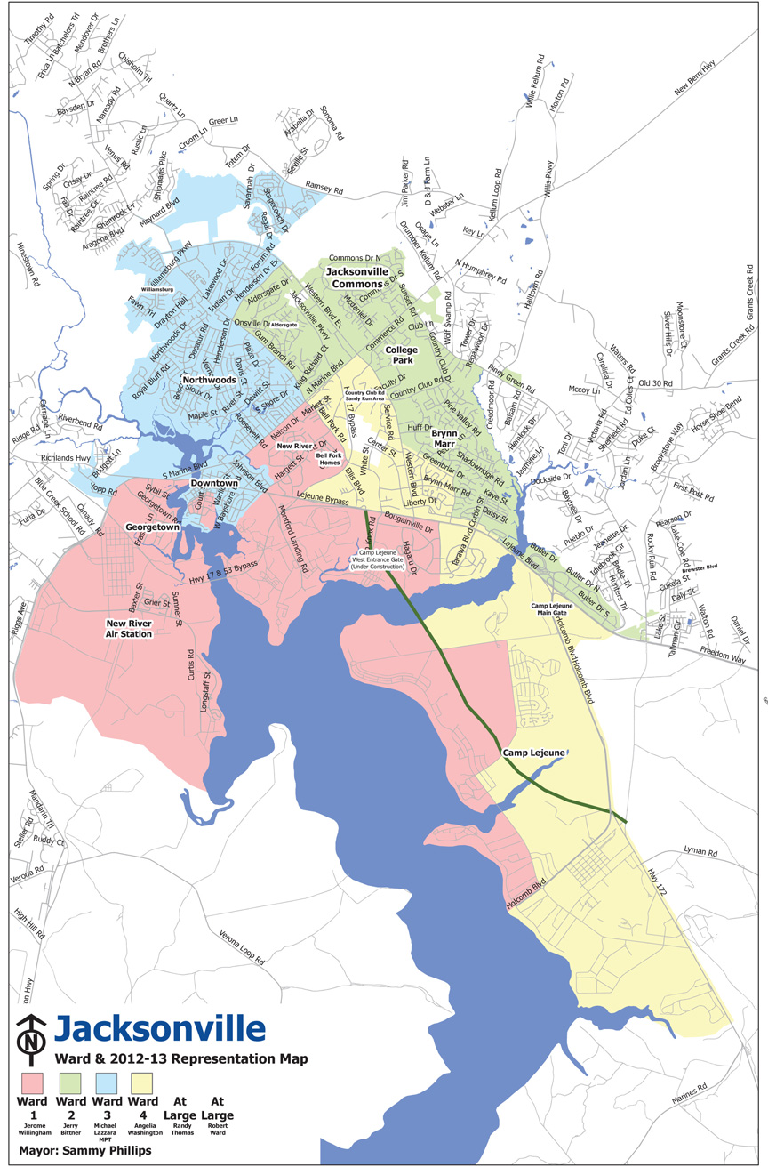2011 Adopted ward map, Jackosnville, NC
