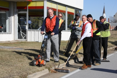 Mayor Phillips and City Manager Woodruff with City Crews