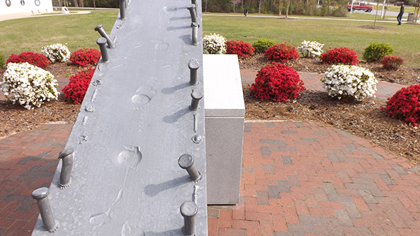 The Beam from the Twin Towers in NYC, at Lejeune Memorial Gardens in Jacksonville