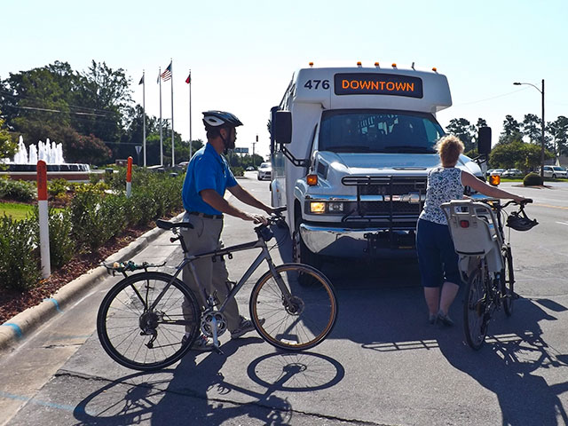Bicyclists use  Jacksonville Transit