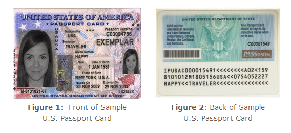 US passport card sample